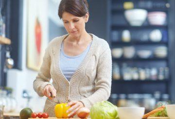 busy mom preparing healthy foods