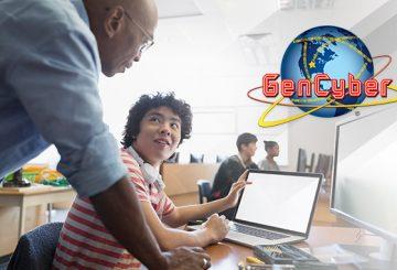 teacher and child at a laptop, gen cyber logo