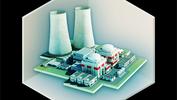 three dimensional model of a nuclear power plant