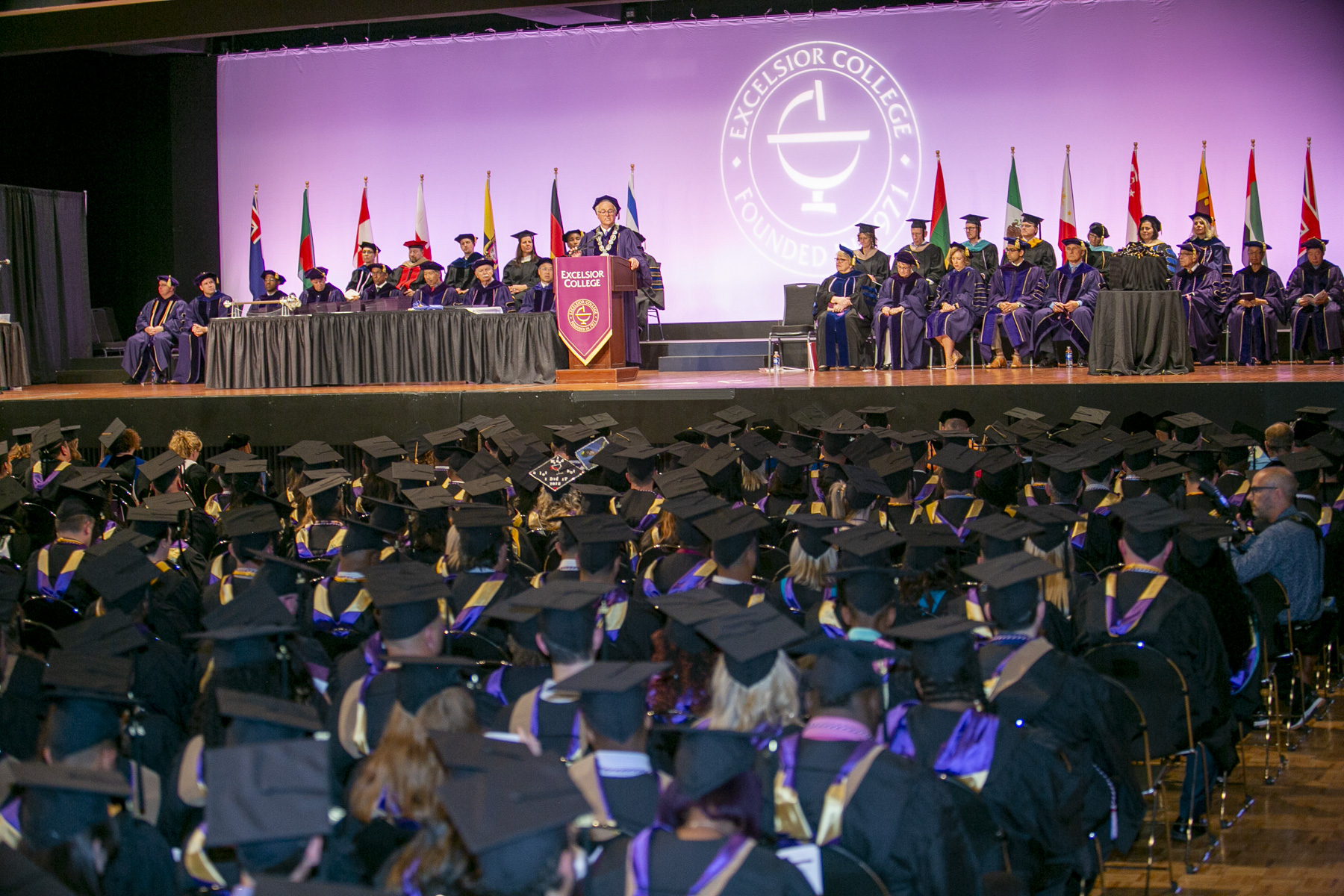President Baldwin addresses the graduates at Commencement 2018 for Excelsior College