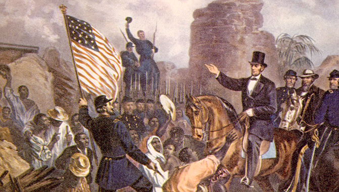 Ilustration of Civil War and Emancipation Proclamation