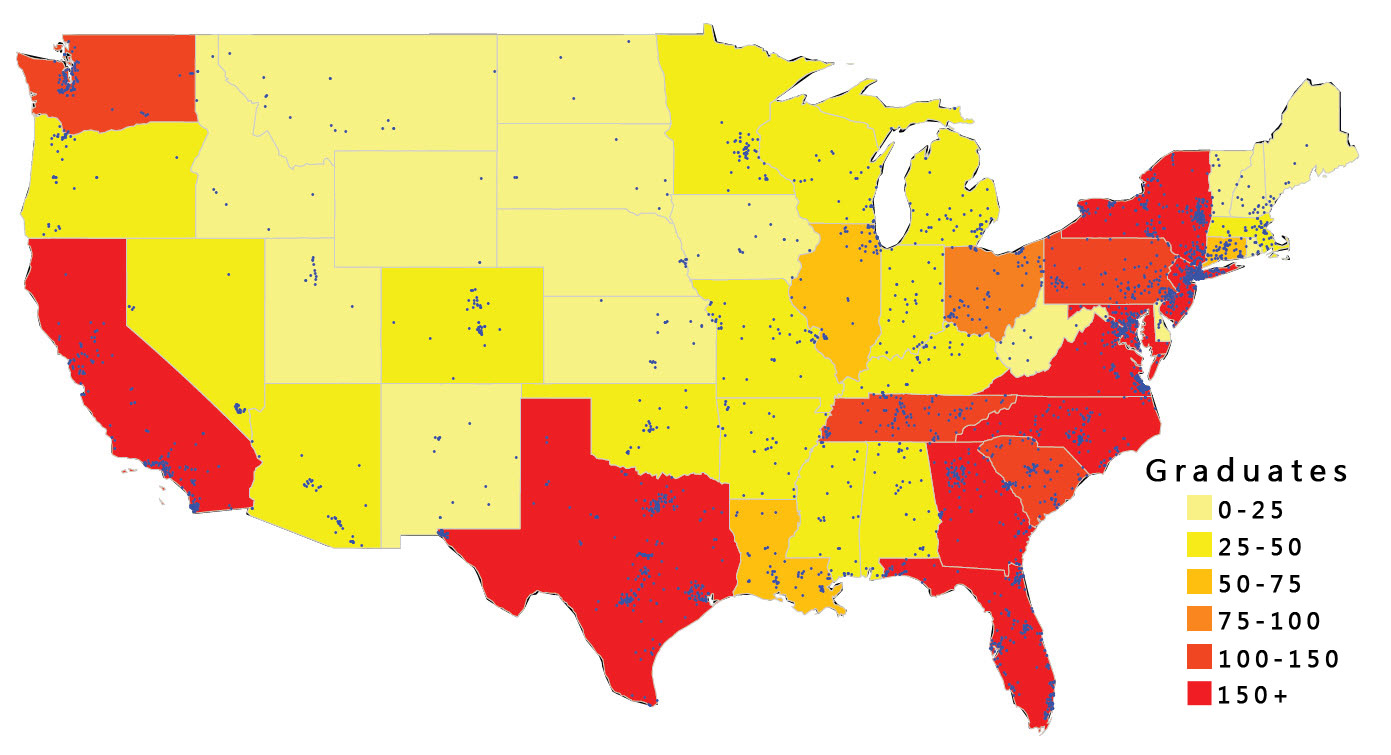 Graduate in US Map