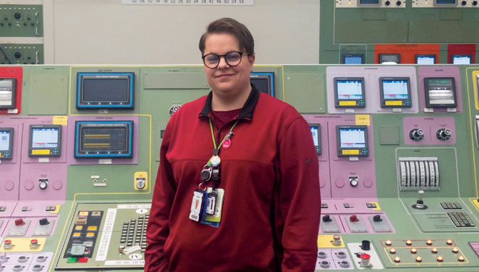 Joanna Lew, nuclear engineering technology degree alum at her workplace, Exelon