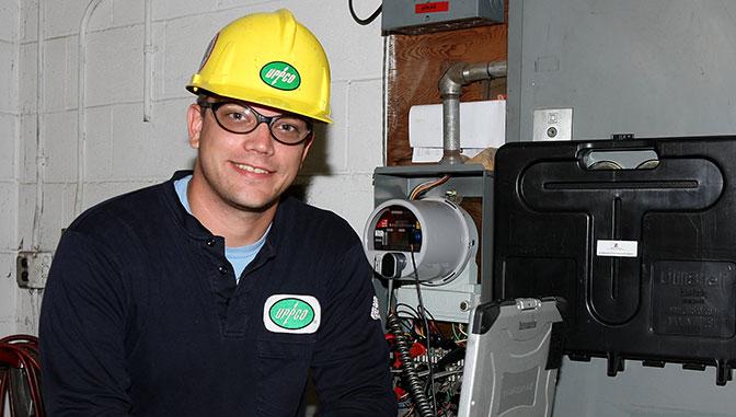 Justin Marier at work at IBEW