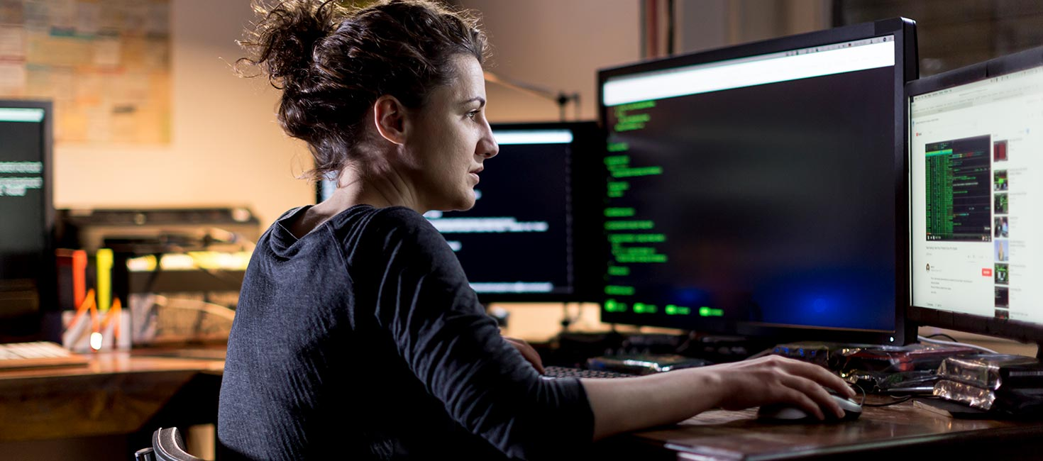 Cybersecurity professional developing code