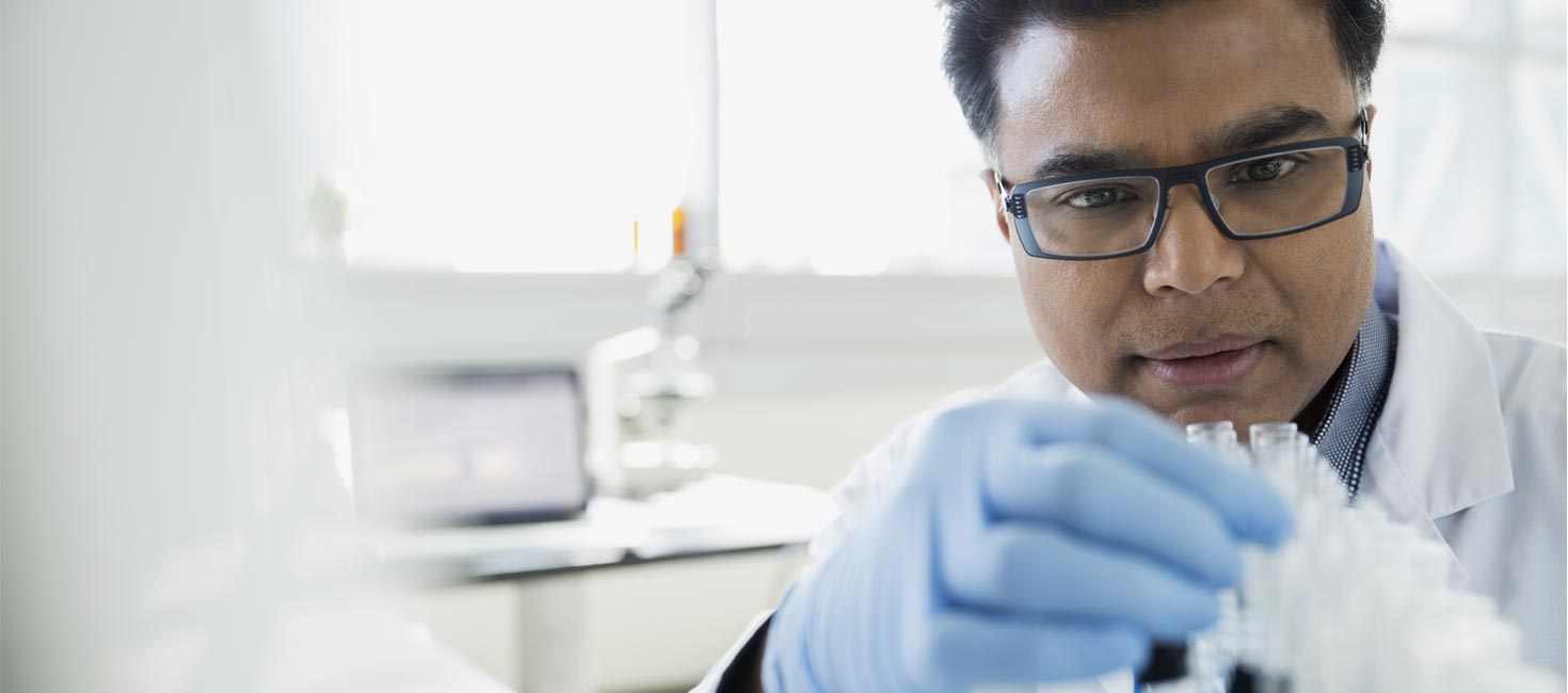 Health sciences researcher working in a laboratory