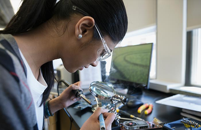 Electrical engineer working on a prototype