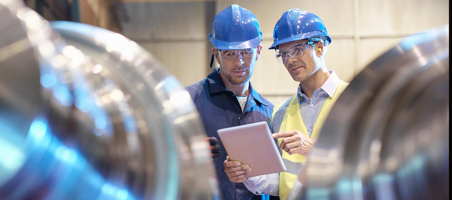 Nuclear power plant engineers on the job