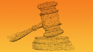 Image of a gavel made from data