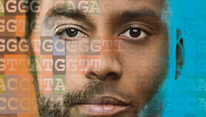 Photo of 2 mens faces blended together with DNA sequence overlay