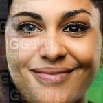 Photo of 2 women's faces blended together with DNA sequence overlay