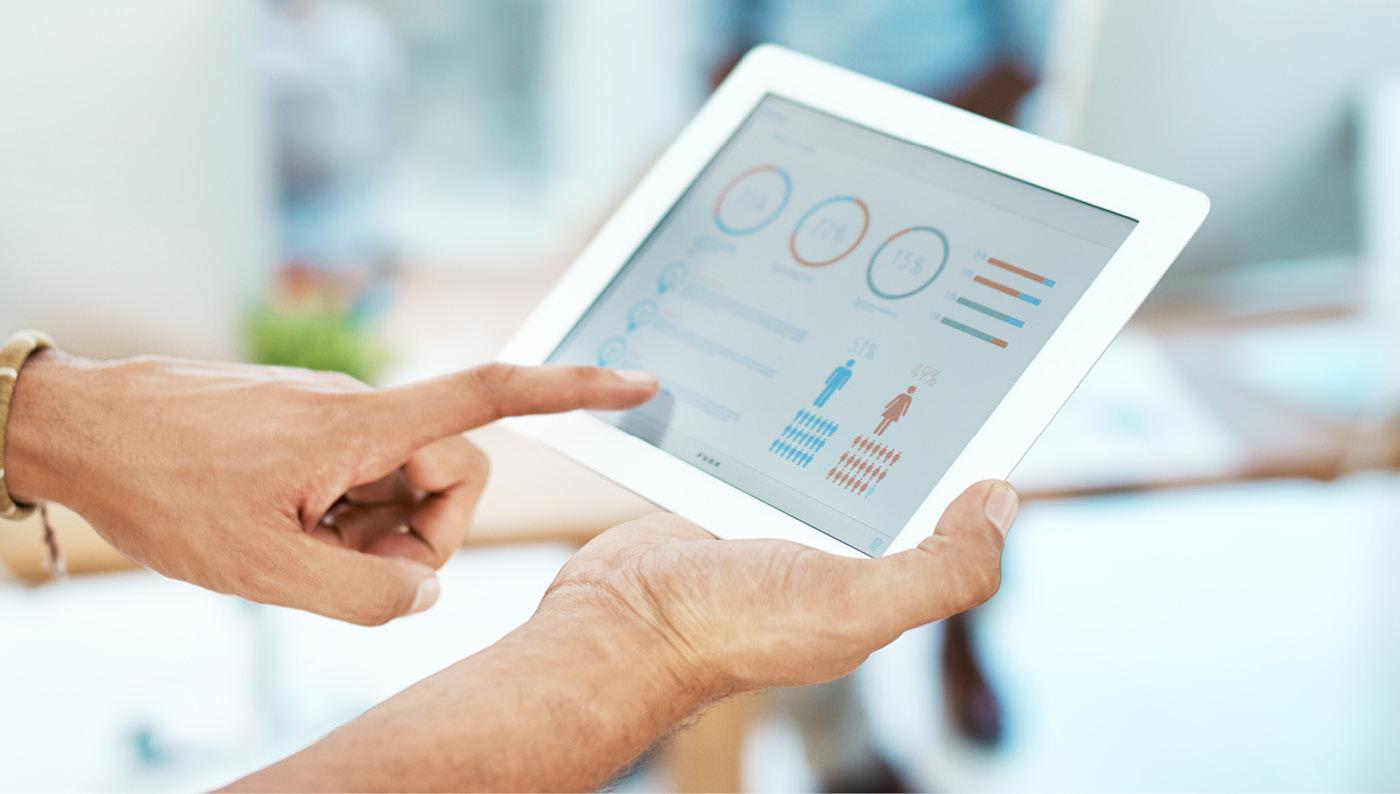 tablet showing patient data, nursing informatics