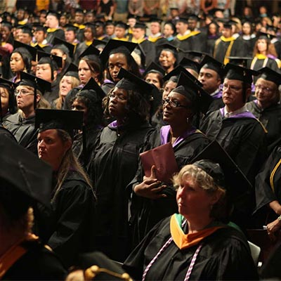 Graduates at commencement