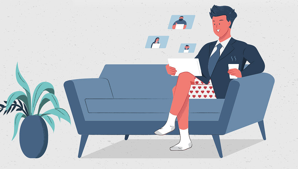 Illustration of man working at home on laptop